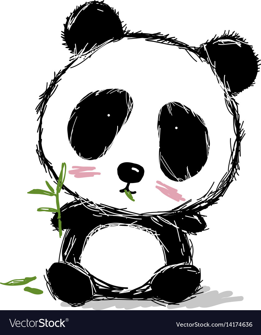 Hand drawn panda bear design on white background vector image