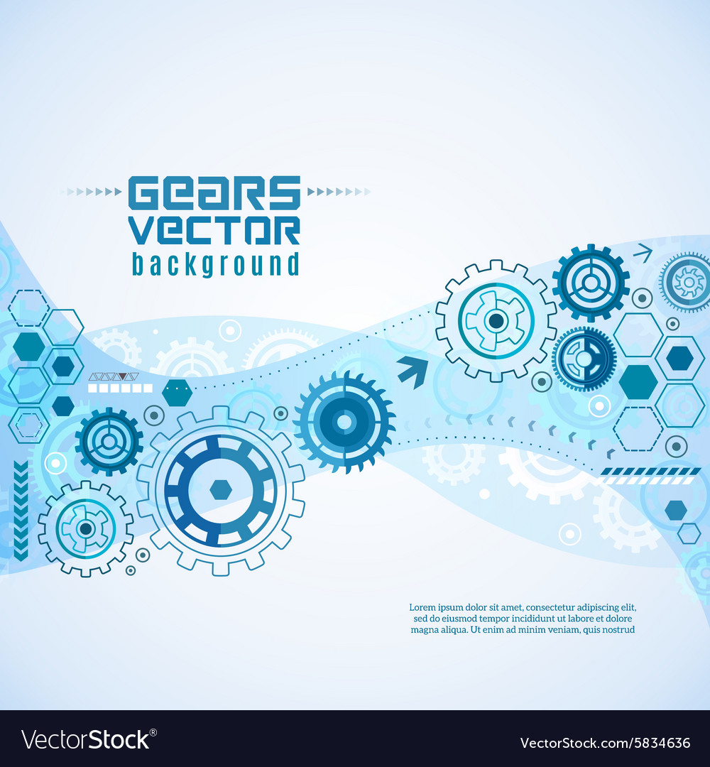 Various Gears With Cogwheels Background vector image