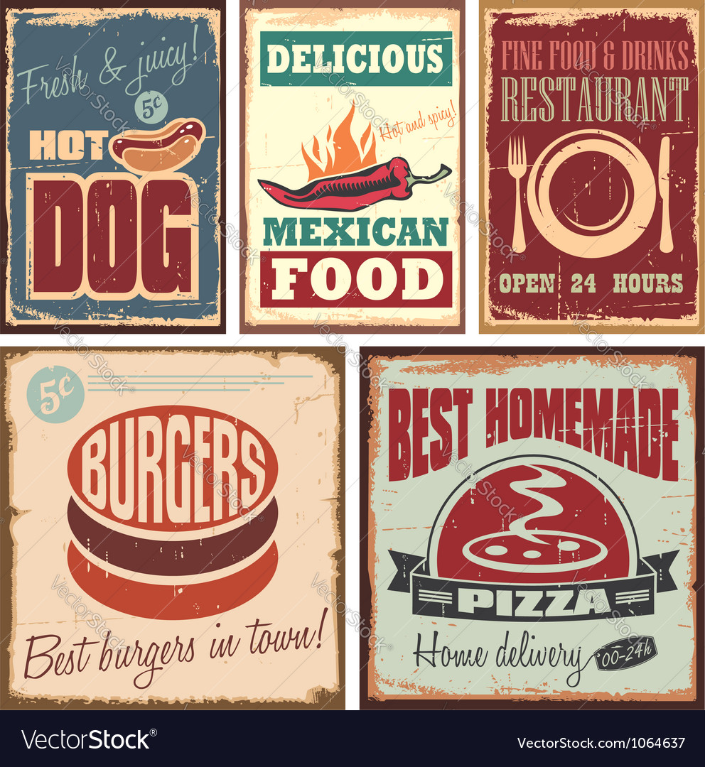 Vintage style tin signs and retro posters Vector Image