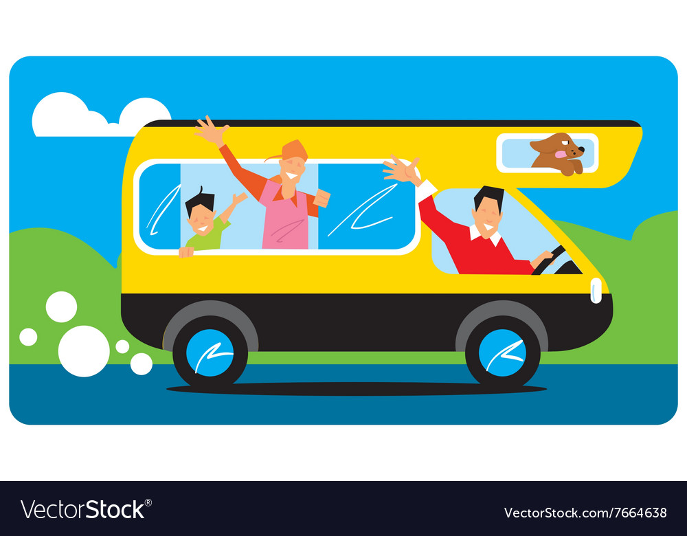 Family goes to camping vector image