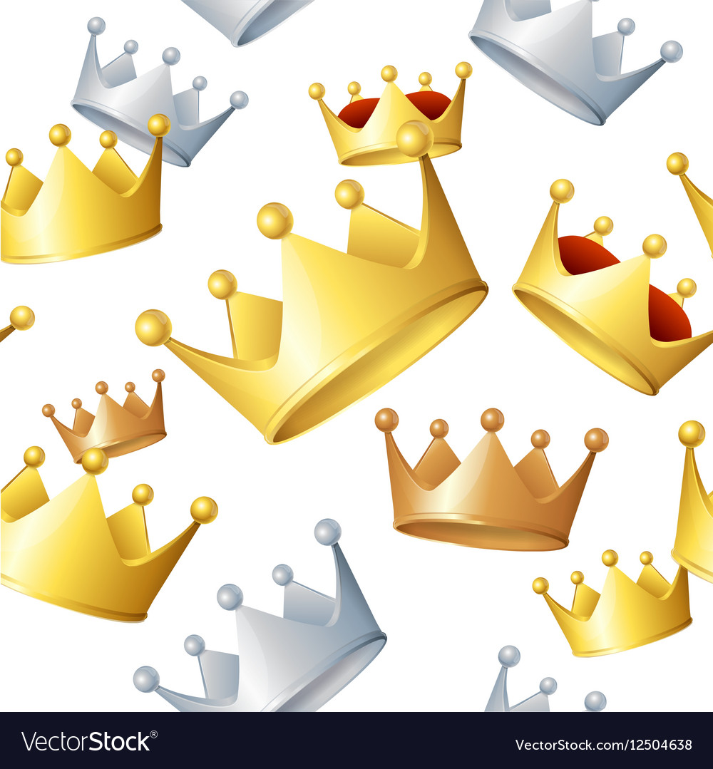 Golden Crowns Background Pattern vector image