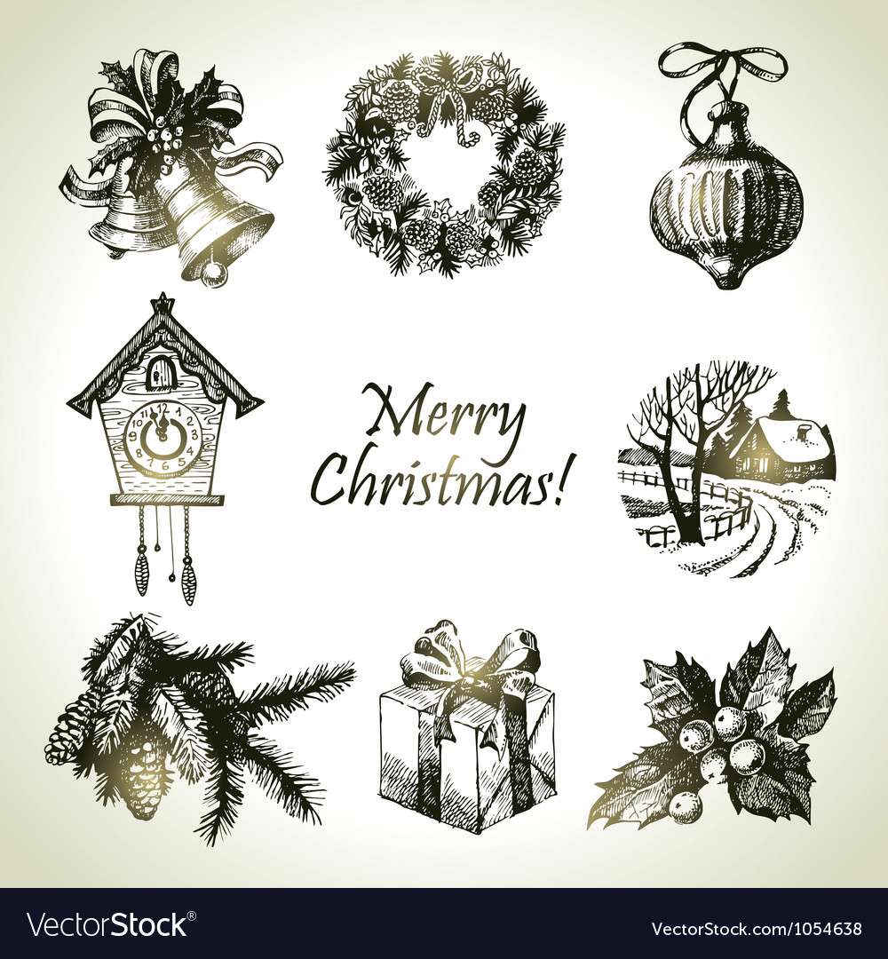 Hand drawn christmas set vector image