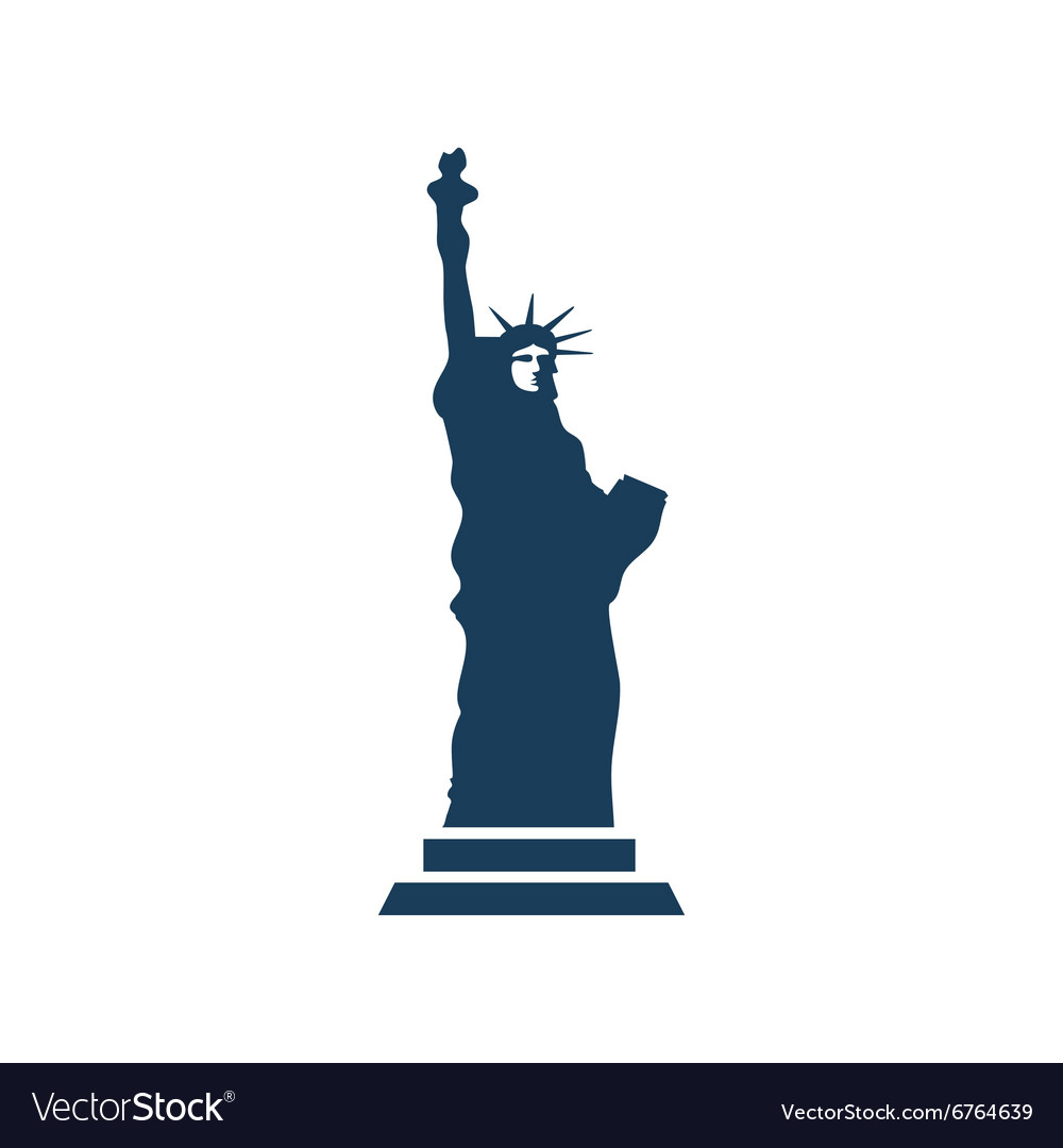 Flat icon on white background Statue of Liberty