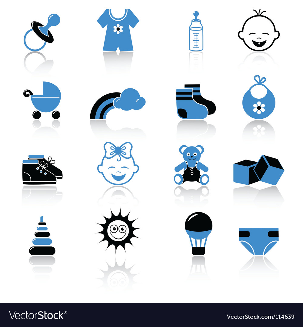 Baby clothing and accessories icons vector image
