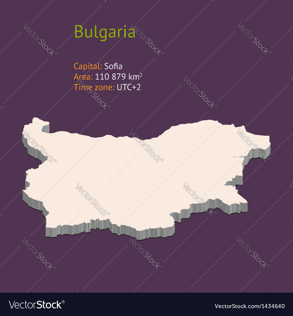 D Map Of Bulgaria Royalty Free Vector Image VectorStock - Bulgaria time zone map