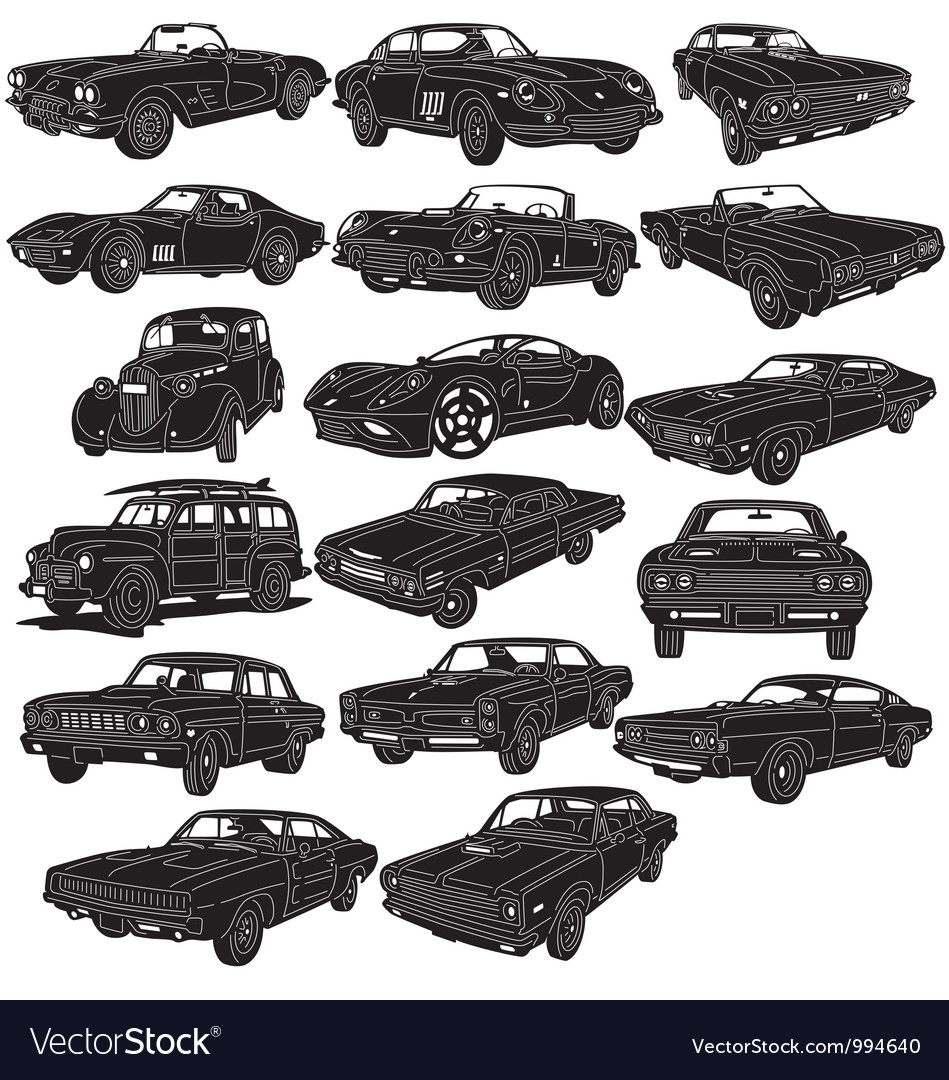 Cars Package Detailed Vector Image