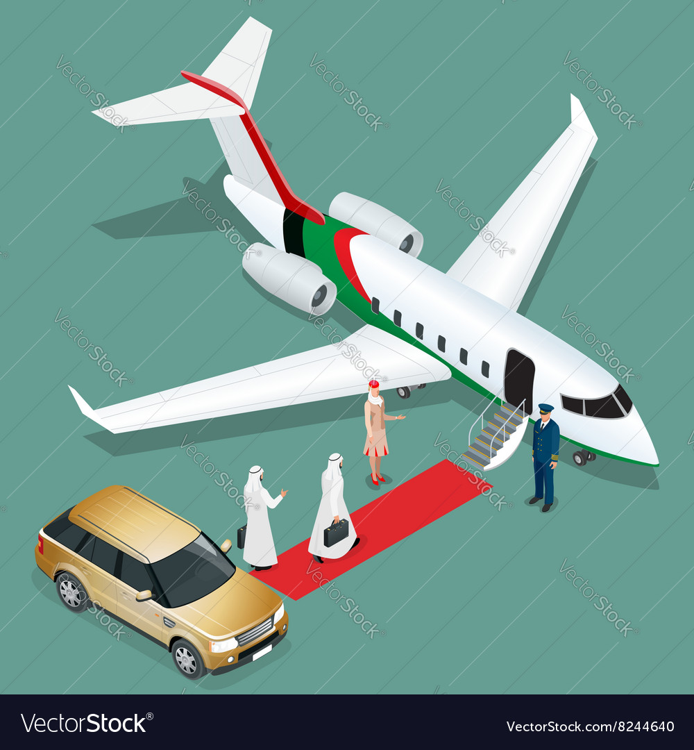 Private jet airplane Two arab business mans vector image