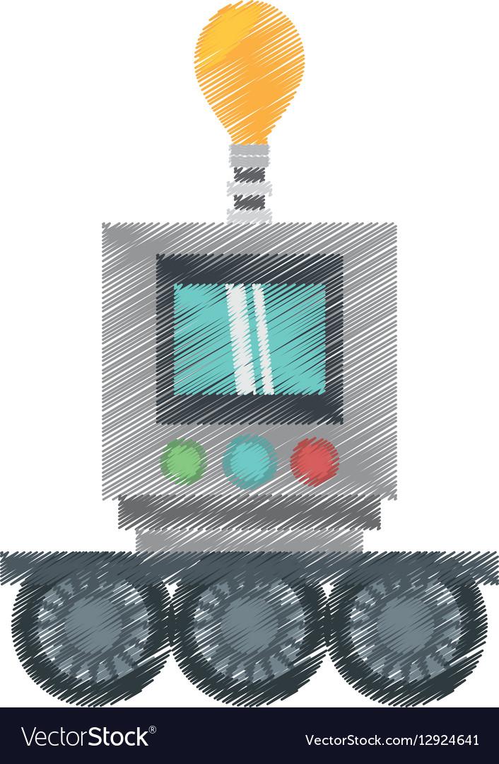 Drawing technology robot bulb light display vector image