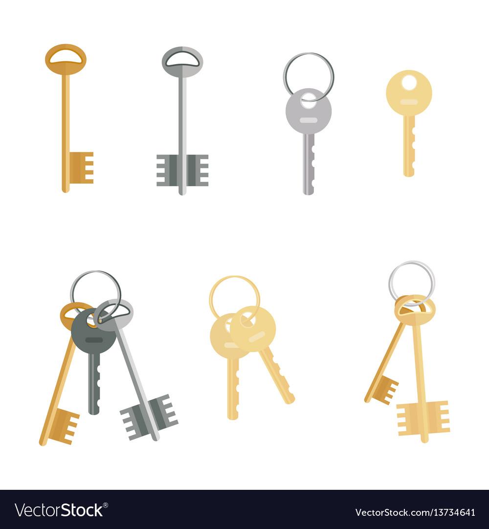 Keys set isolated on white background flat vector image