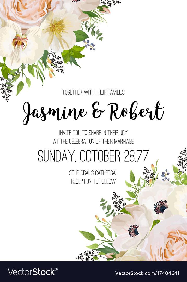 Wedding invitation invite card design pink peach vector image