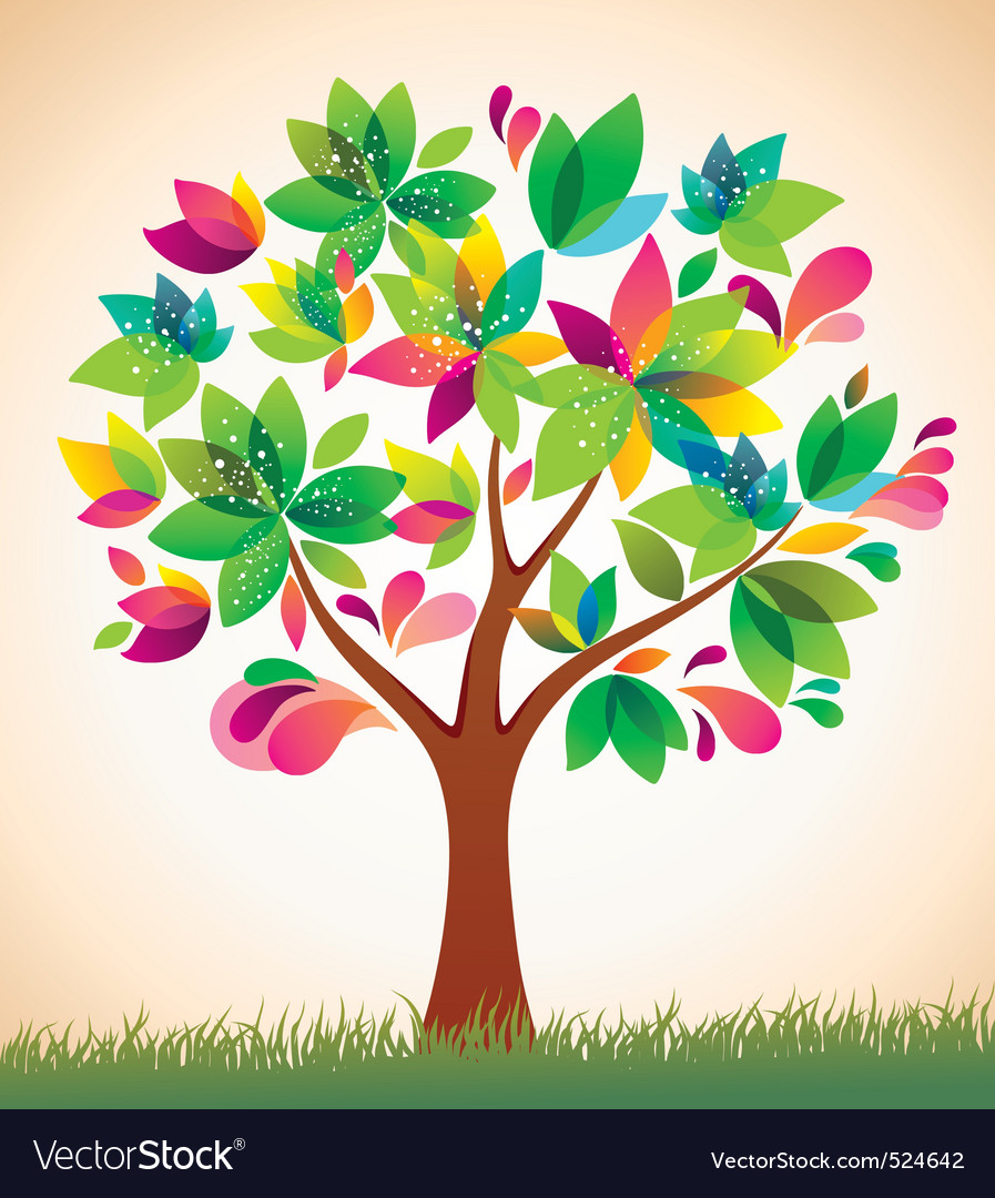 Beautiful colorful tree Royalty Free Vector Image