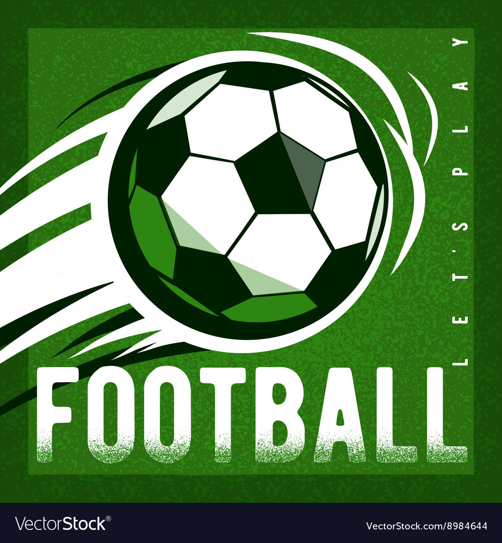 Soccer football green field background with ball vector image