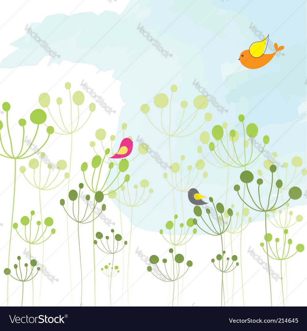 Springtime colorful bird floral wallpaper vector image