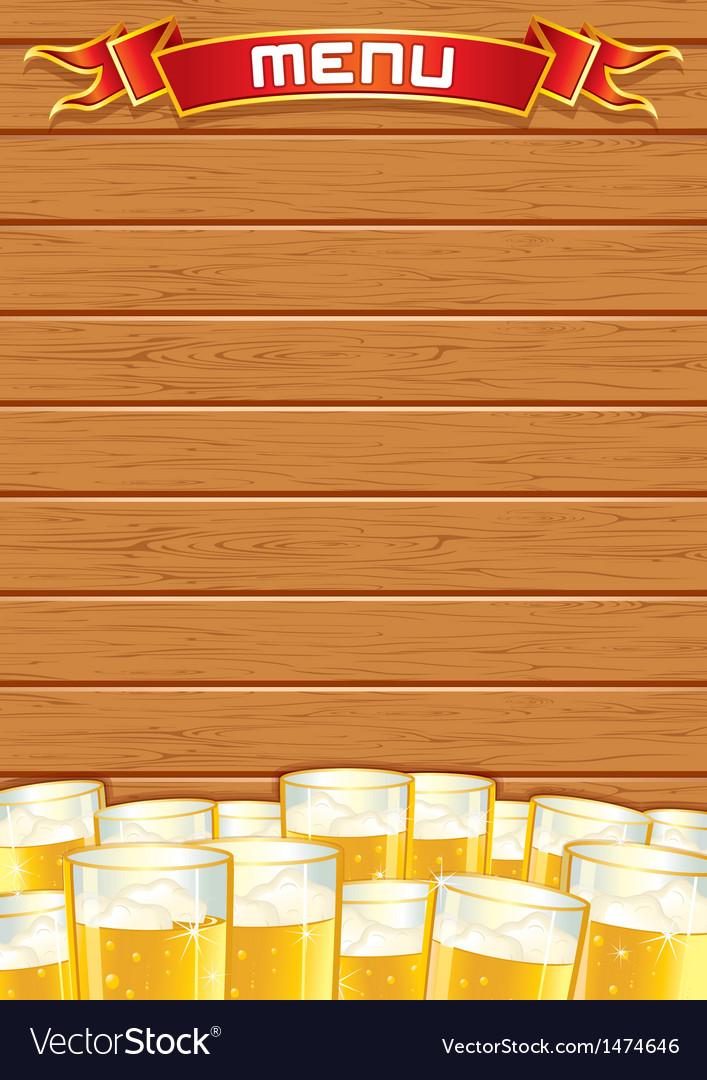 Blank Pub Menu Wooden Background vector image