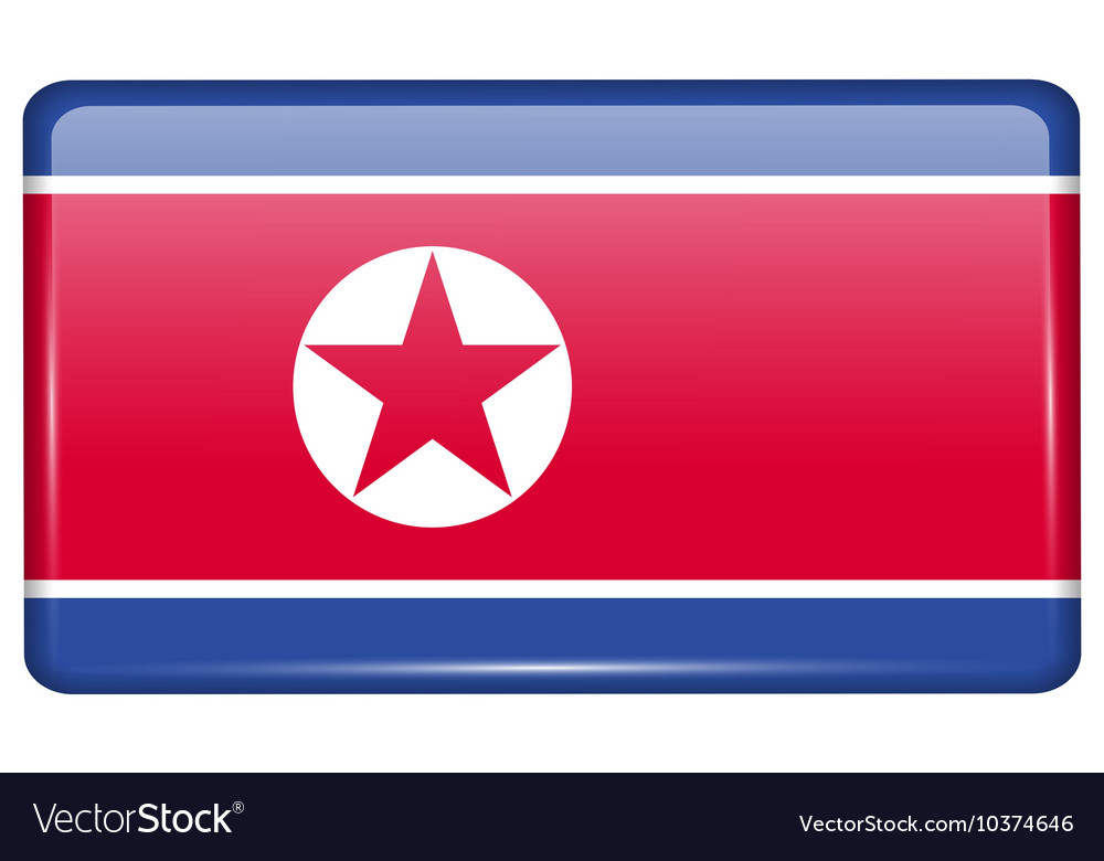 Flags Korea North in the form of a magnet on vector image