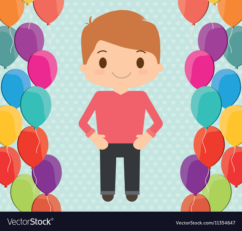Boy cartoon and happy birthday design vector image