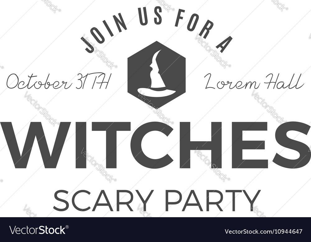 Halloween witches party label template with hat vector image