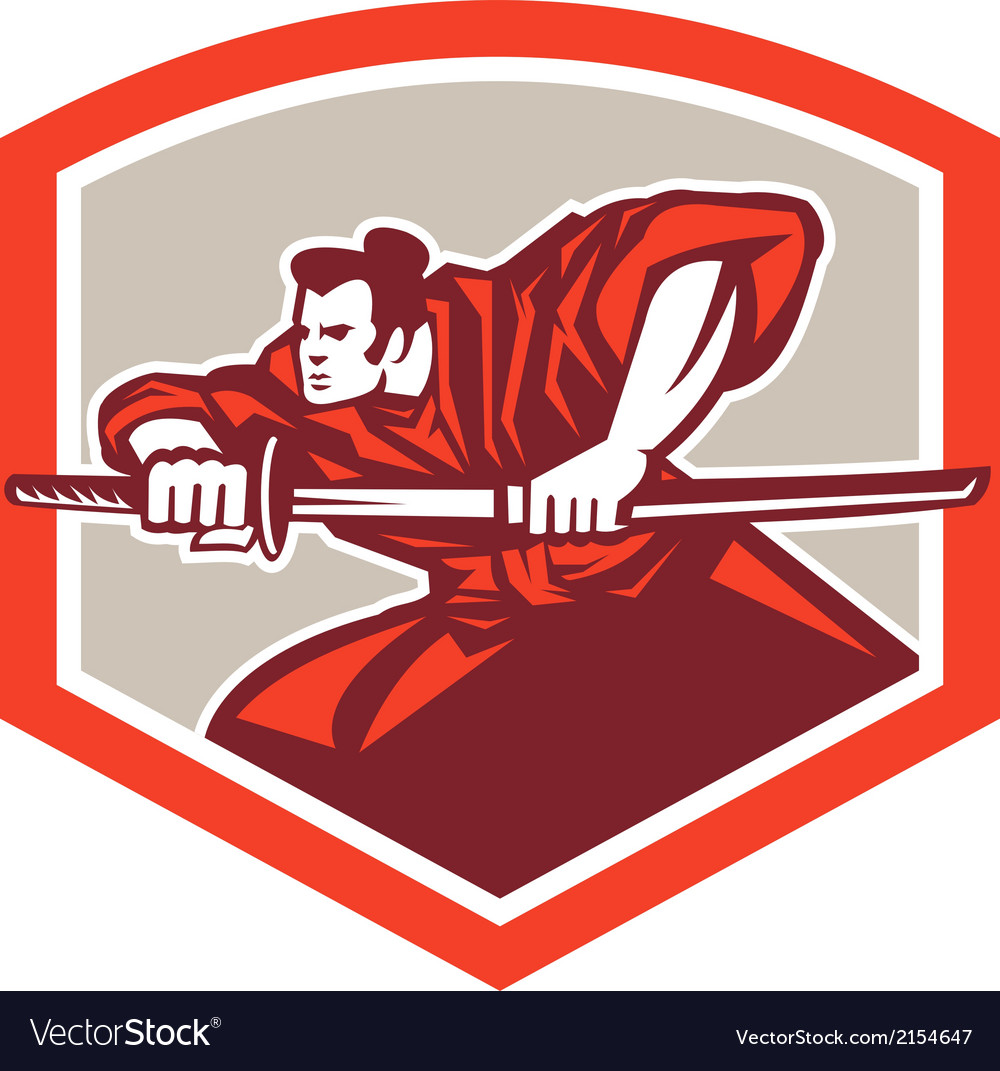 Samurai Warrior Drawing Katana Sword Shield vector image
