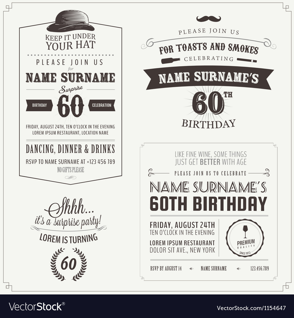 Set of adult birthday invitation design elements Vector Image