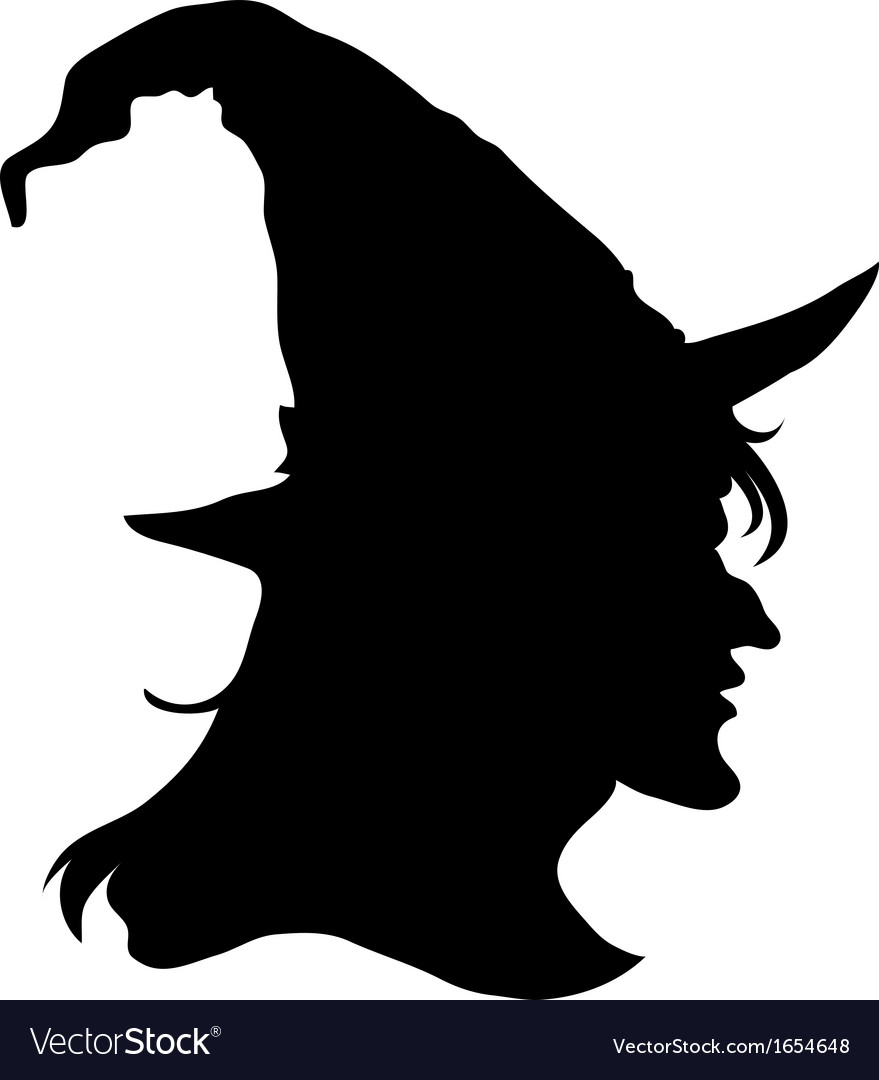 Halloween witch head silhouette vector image