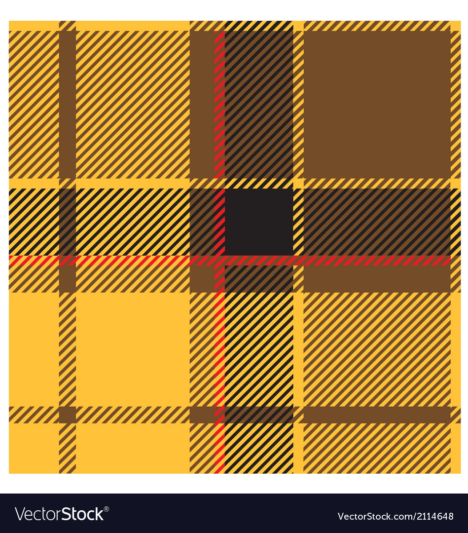 Yellow Tartan Cloth Pattern vector image