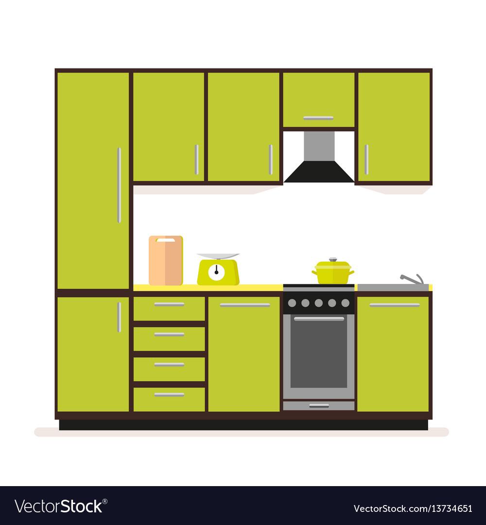 Kitchen set modern kitchen furniture in a flat vector image