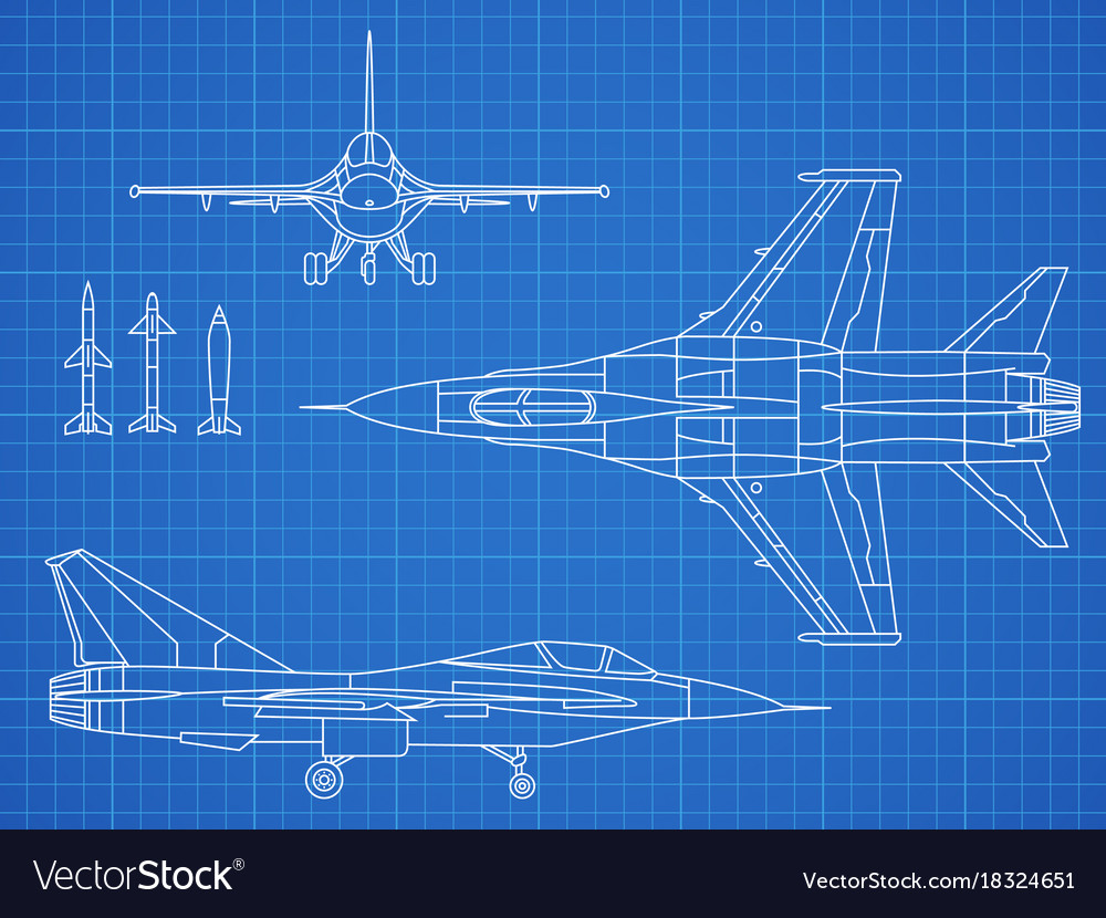 Military jet aircraft drawing blueprint royalty free vector military jet aircraft drawing blueprint vector image malvernweather Choice Image