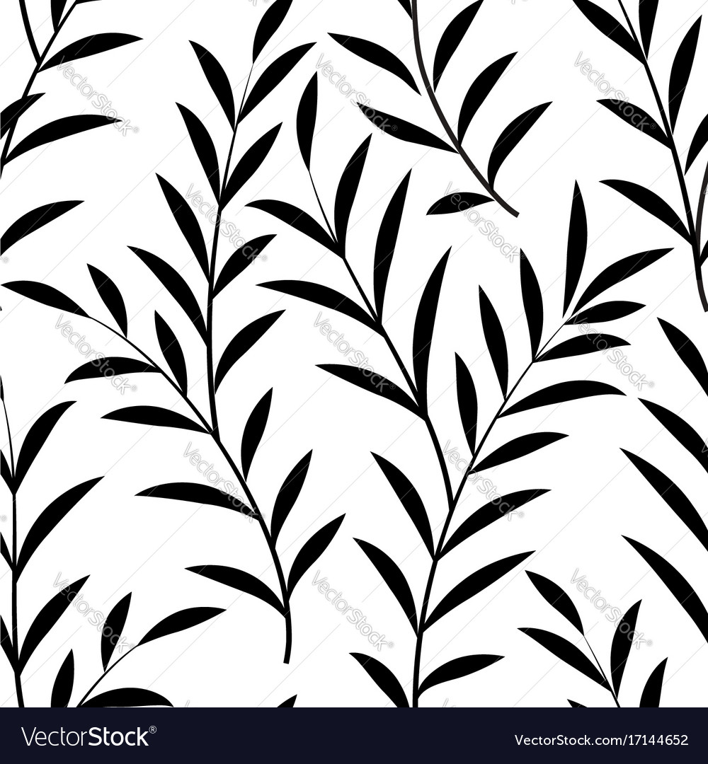 Floral leaves seamless pattern branch silhouette vector image