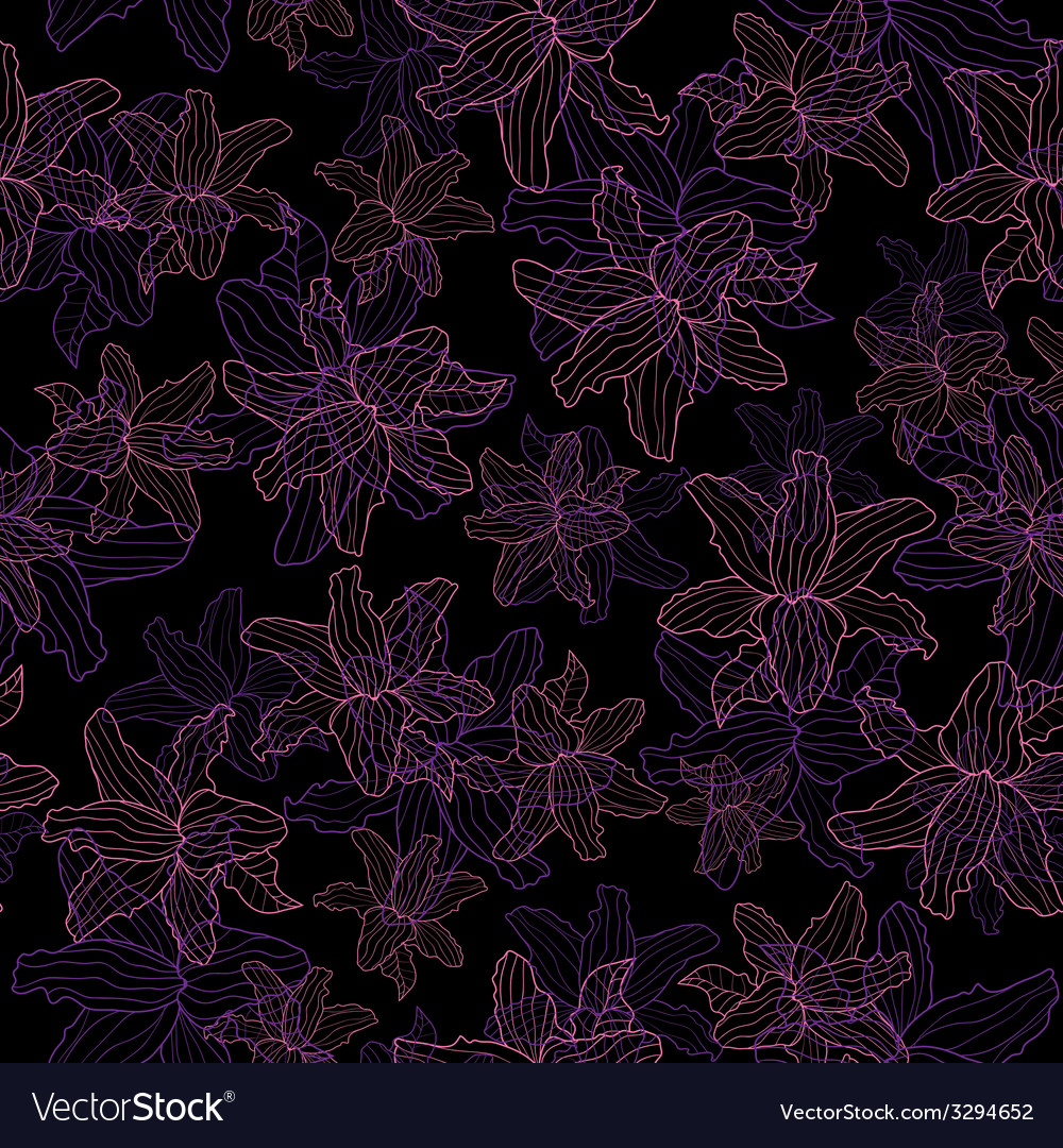 Floral pattern Lily on a black background vector image