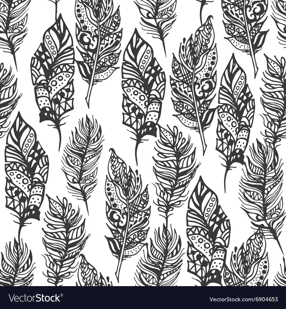 Hand drawn zentangle doodle black feathers vector image