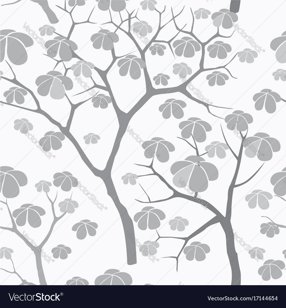 Tree seamless pattern japanese garden background vector image