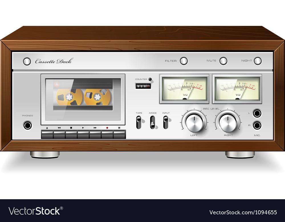 Vintage analog stereo cassette tape deck player vector image