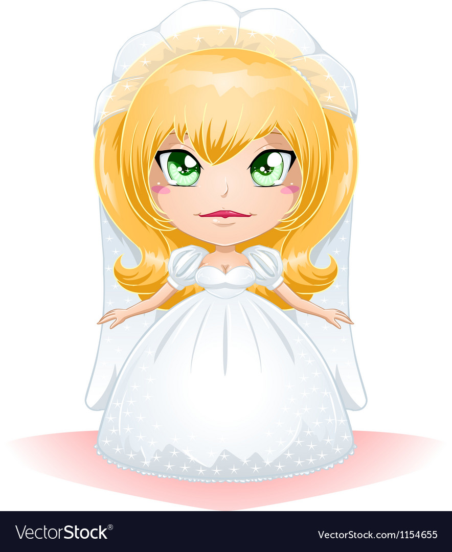 Bride Dressed For Her Wedding Day 3 vector image