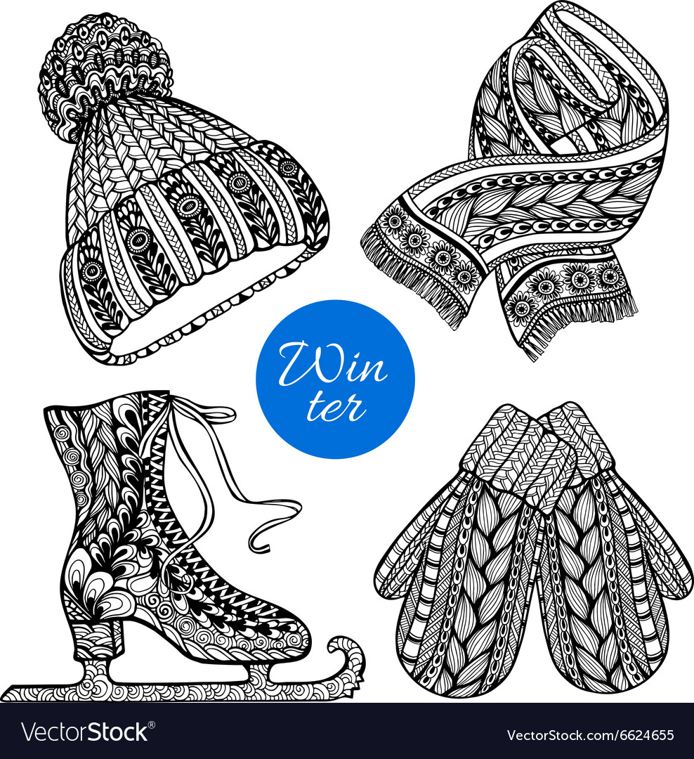 Decorative skates mittens scarf doodle icons vector image