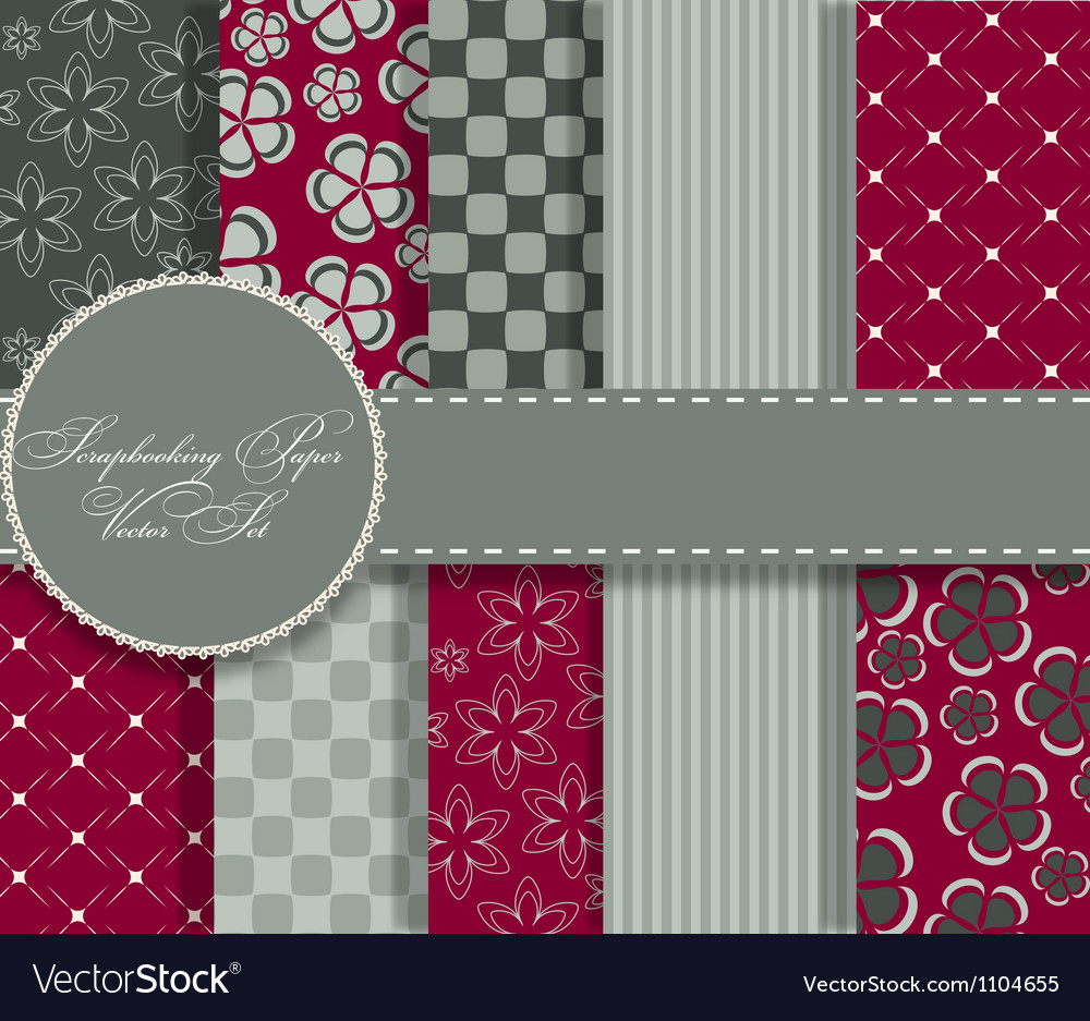 Set of beaautiful paper for scrapbook vector image