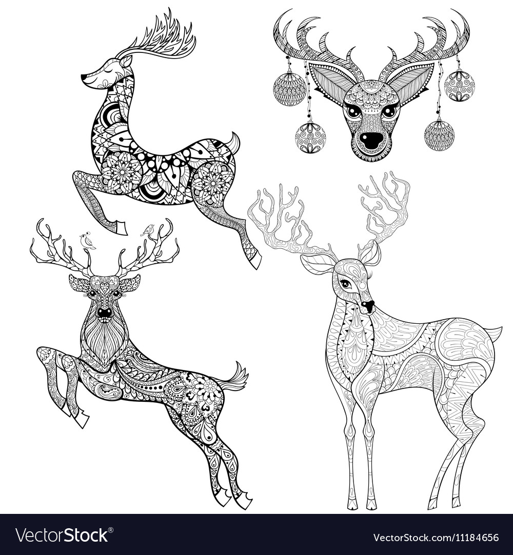 Christmas Reindeer set in patterned style for vector image