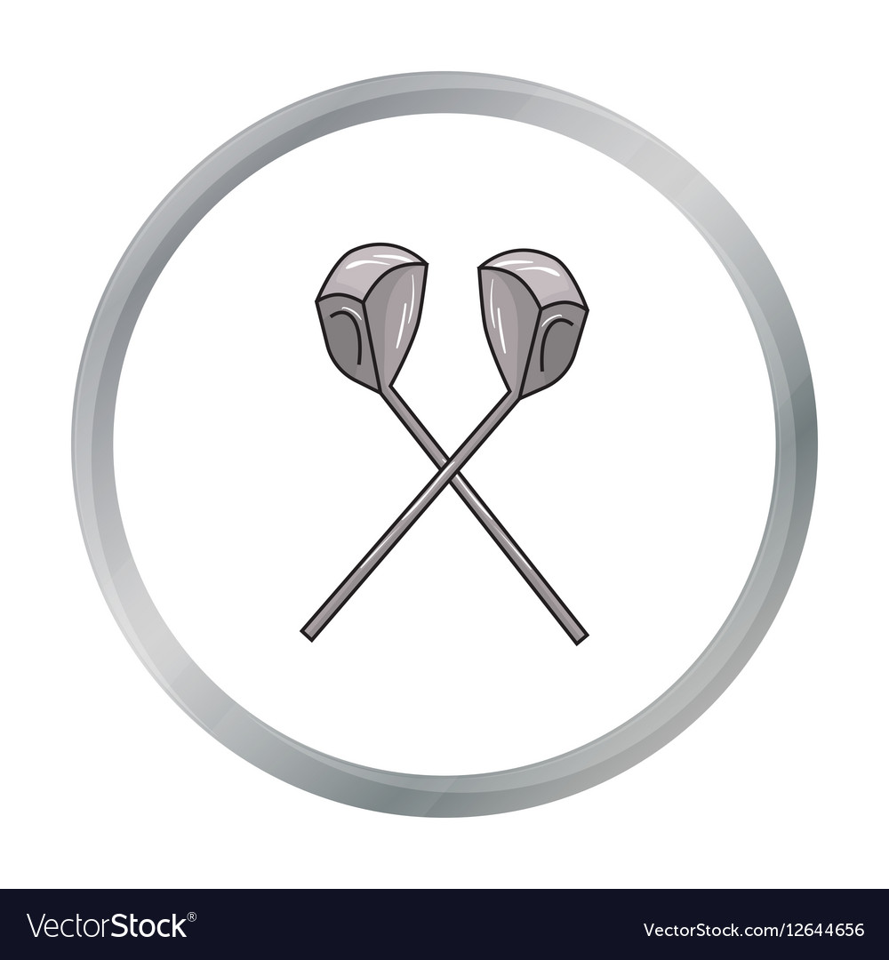Crossed golf clubs icon in cartoon style isolated vector image