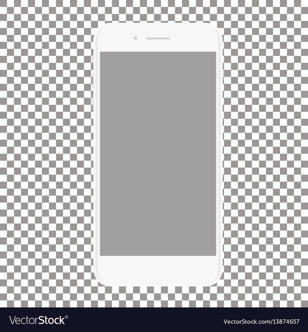 White phone with blank screen on a transparent vector image