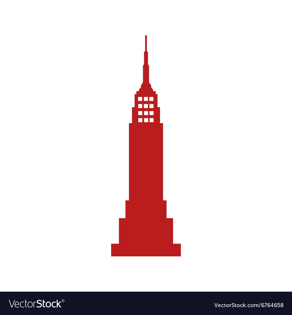 Flat icon on white background American skyscraper