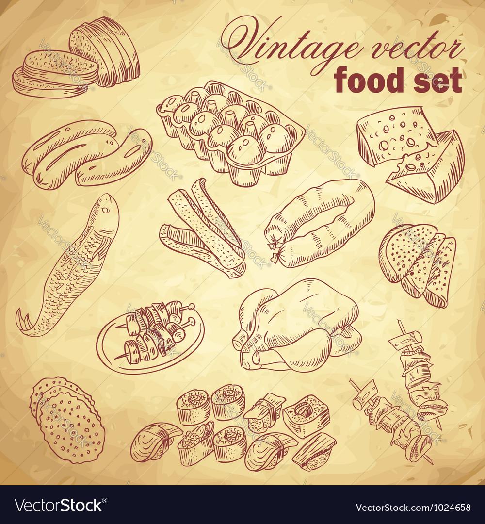 Vintage hand-drawn food set vector image