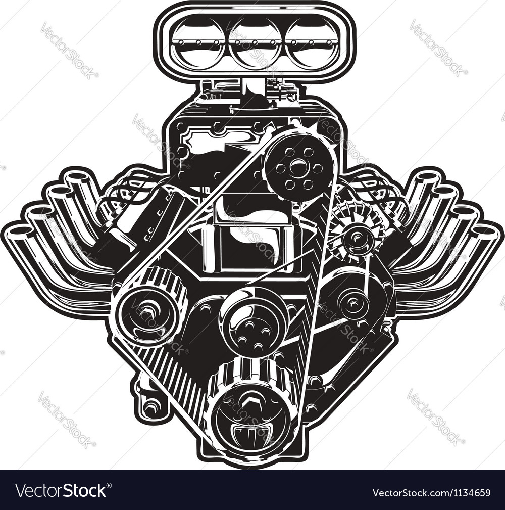 What Is Mopar >> Cartoon Turbo Engine Royalty Free Vector Image