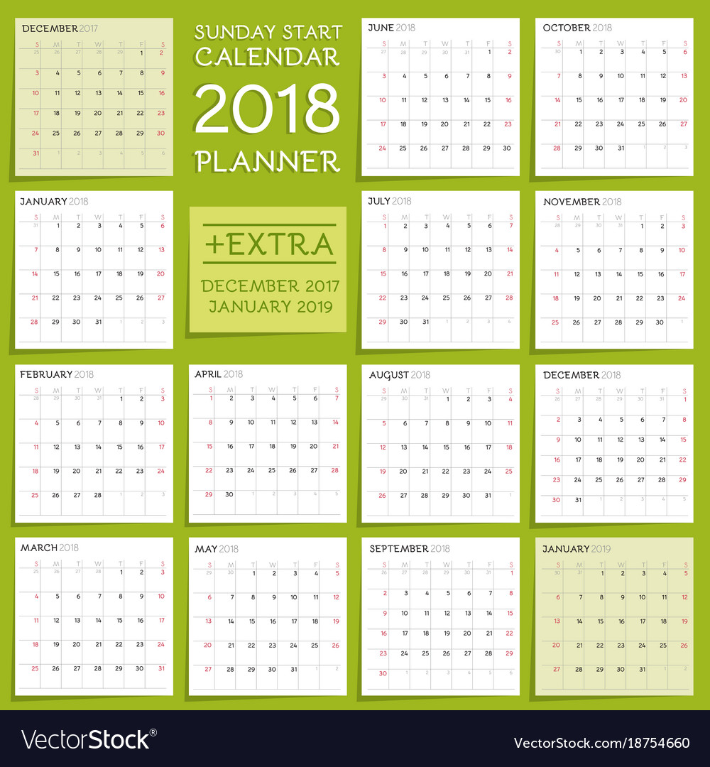 Calendar Planner Vector : Calendar planner design week starts from vector image