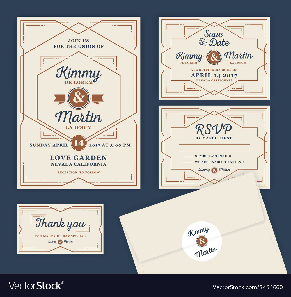 Art Deco Letterpress Wedding Invitation Design vector image