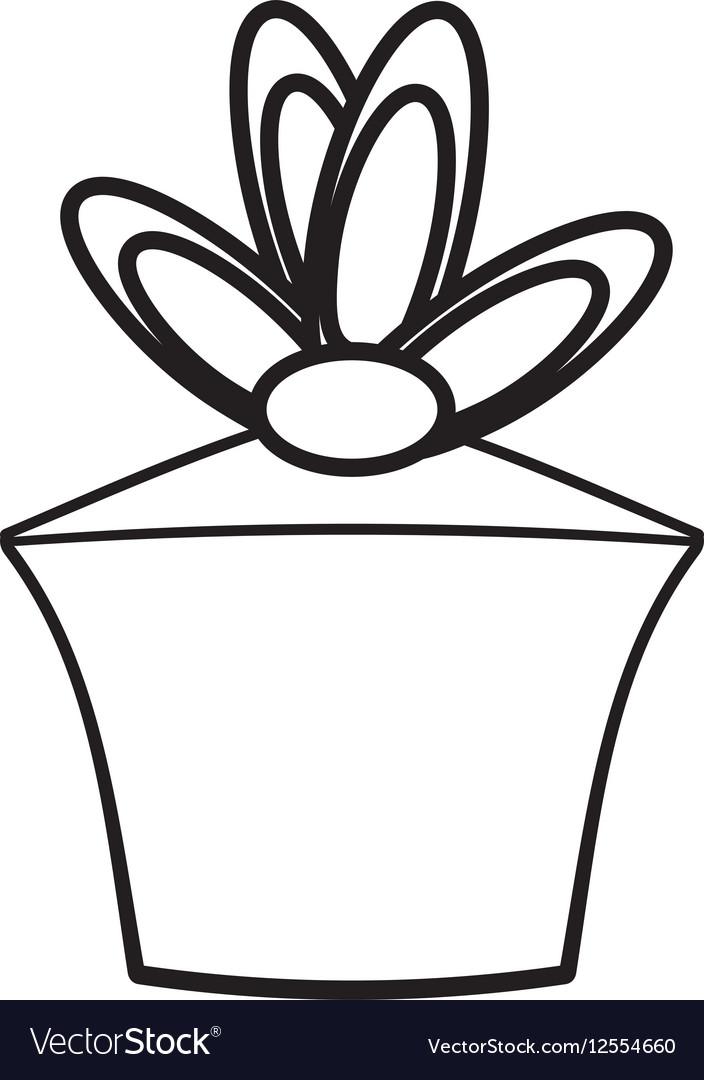 Gift box birthday celebration outline vector image