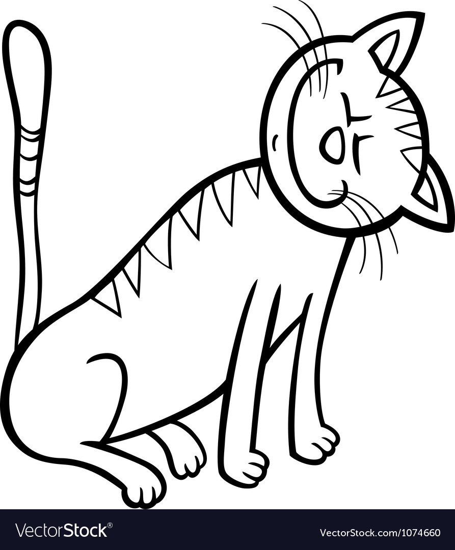 happy cat cartoon for coloring book royalty free vector