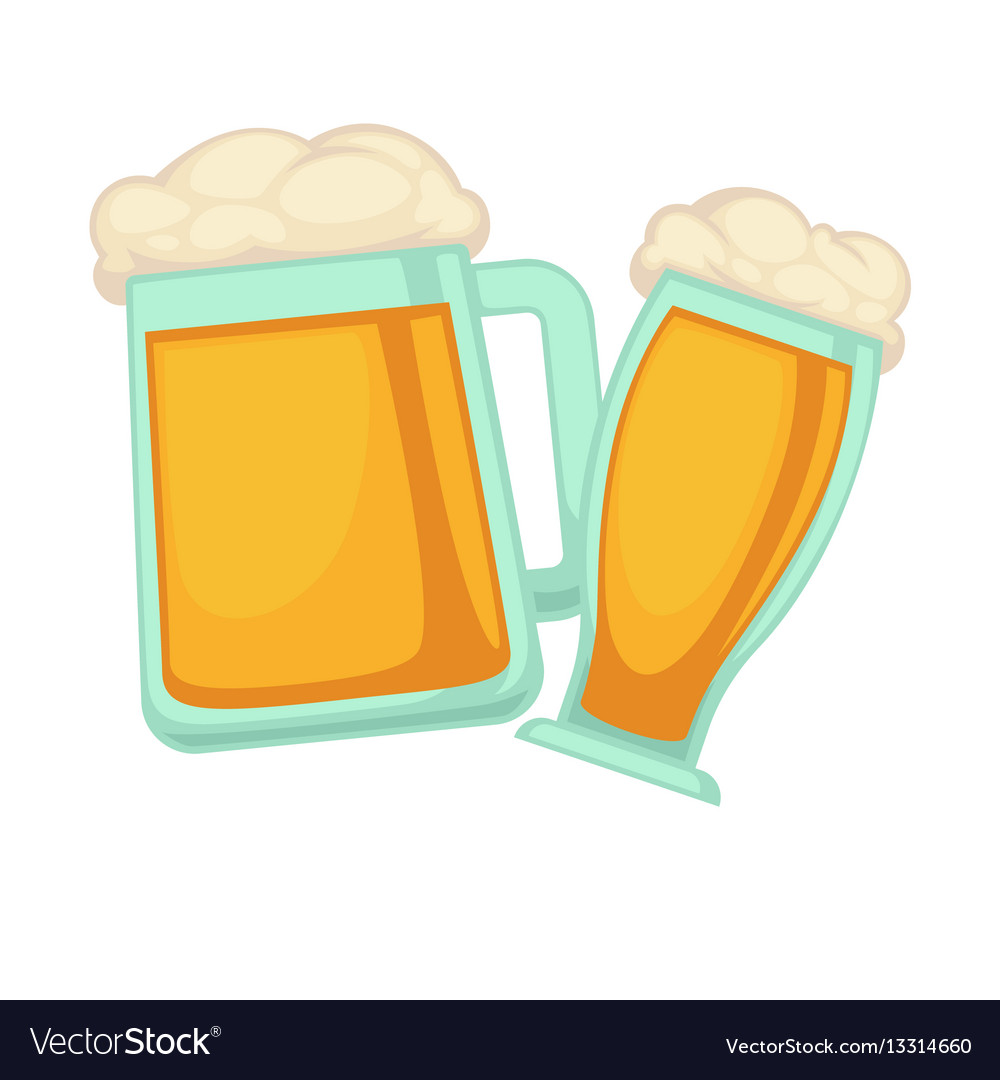 Man and woman glasses of beer with foam isolated vector image
