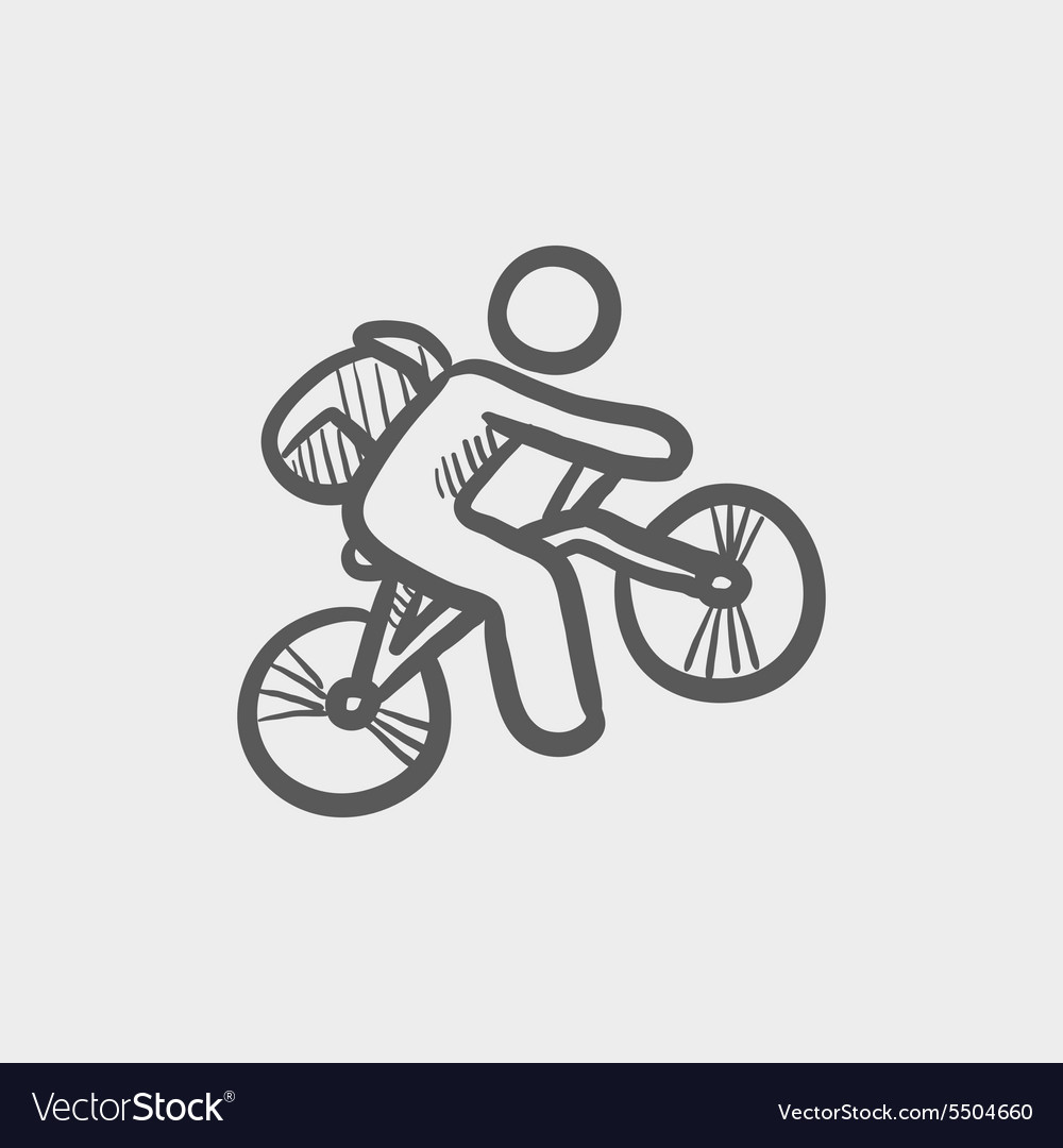 Mountain bike rider sketch icon vector image
