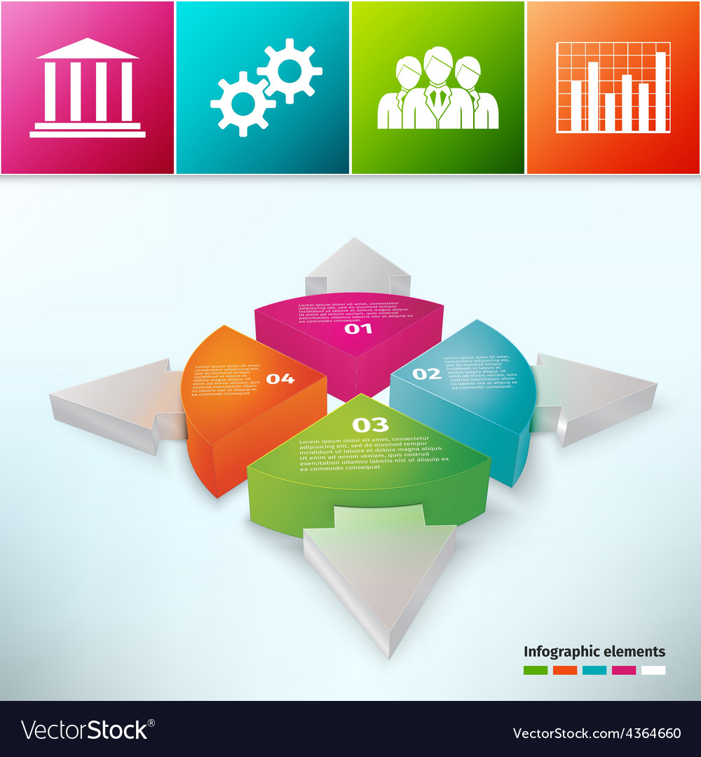 Pie Chart With Arrows 3d vector image