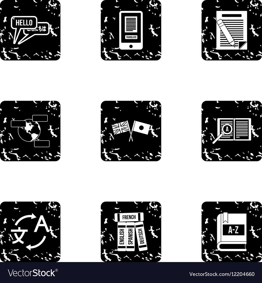 Translation of language icons set grunge style vector image