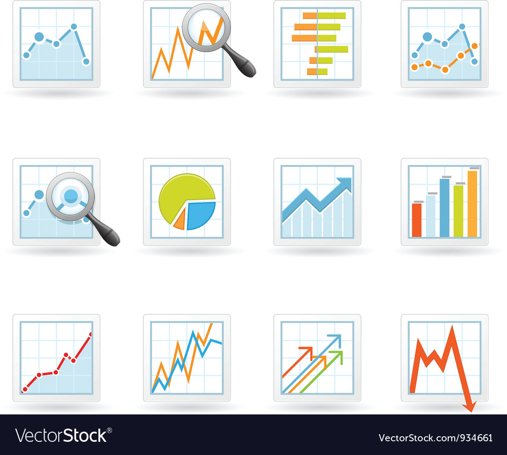 Statistics and analytics icons Vector Image
